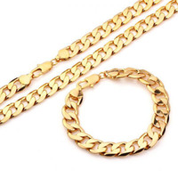"Wholesale Heavy Yellow Gold Bracelet - Free Shipping! Fashion Jewelry Set, 135g, 24K Yellow Gold Filled Set, Heavy Cool Men's Gold Necklace(23.6"")+Bracelet(8.6"") Set"