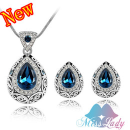 China Drop Beads NZ - 18K Platinum Plated Rhinestone Crystal African Beads Vintage Water Drop Crystal Jewelry Sets Jewelry for 2013 women Z4191