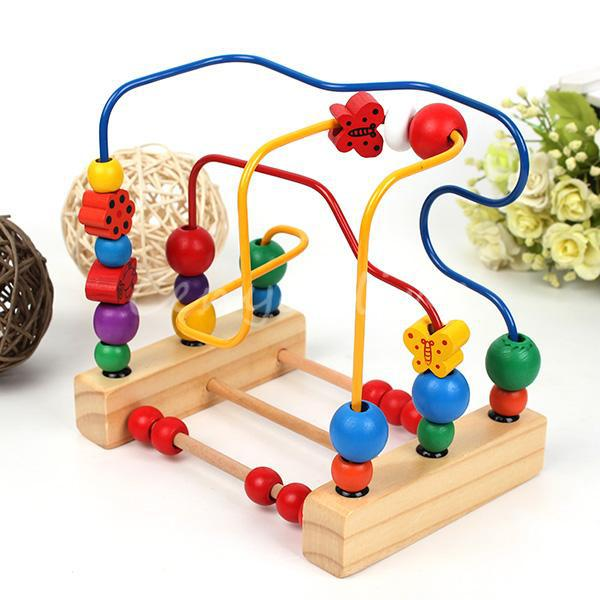 Free Shipping Cartoon Colorful Wooden Activity Cube Small Play Game Toy Childrens Kids Baby Bead Maze Puzzle Abacus Shape