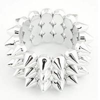 ingrosso bracciale in argento-3 fila gioielli in argento nerastro stretch elastico braccialetto braccialetto punk riccio borchie spike rivetti braccialetto mano gioielli unisex donna uomo