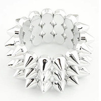 Wholesale studs spikes bracelet - 3 Row Blackish Silver Jewelry Stretch Elastic Bangle Bracelet Punk Hedgehog Studs Spike Rivets Wristband Hand Jewelry Unisex women Men