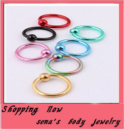 Wholesale Body Jewelry Titanium Piercing Mixed - Body Piercing Jewelry Steel 14 Gauge Titanium Anodized Captive Ring BCR Mixed Colors