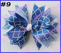Wholesale Chevron Linen - free shipping 2014 newest 30pcs 4.5'' spike hair bows with chevron ribbon and quatrefoil ribbon hair clips