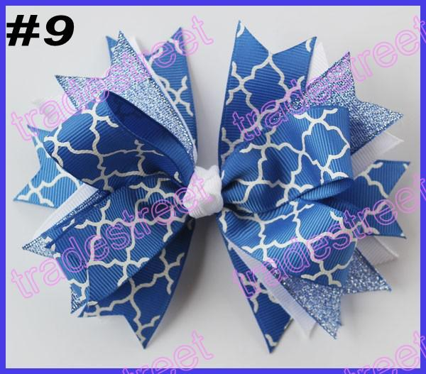 free shipping 2014 newest 30pcs 4.5'' spike hair bows with chevron ribbon and quatrefoil ribbon hair clips