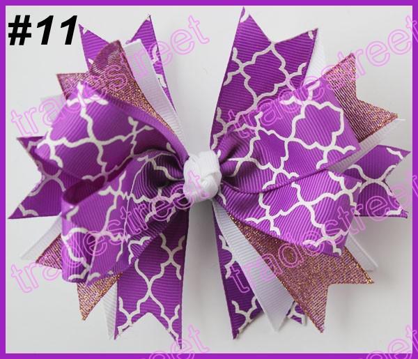 free shipping 2014 newest 300pcs 4.5'' spike hair bows with chevron ribbon and quatrefoil ribbon hair clip