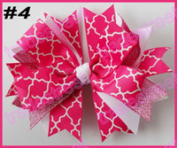 Wholesale Hair Spikes Clips - free shipping 2014 newest 65pcs 4.5'' spike hair bows with chevron ribbon and quatrefoil ribbon hair clips