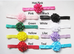 Wholesale Hair Satin Ribbon Flower Head - Fashion satin ribbon flower headbands baby kids head wear for Photography props infant hair accessory 100pcs