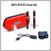 elektronik sigarayı çift evod kitleri toptan satış-Hiçbir İkinci El Sigara Elektronik Sigara EVOD Çift Kit MT3 Çift Kitleri MT3 Atomizer 650 mah 900 mah 1100 mah EVOD Pil E Çiğ MT3 Kitleri