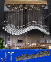 Wholesale Modern Curtains Designs - Free Shipping Modern Popular Design Senior Cystal Lights LED GU10 Curtain Wave Crystal Chandeliers Pendant Lamp Droplight Lamps MYY1920