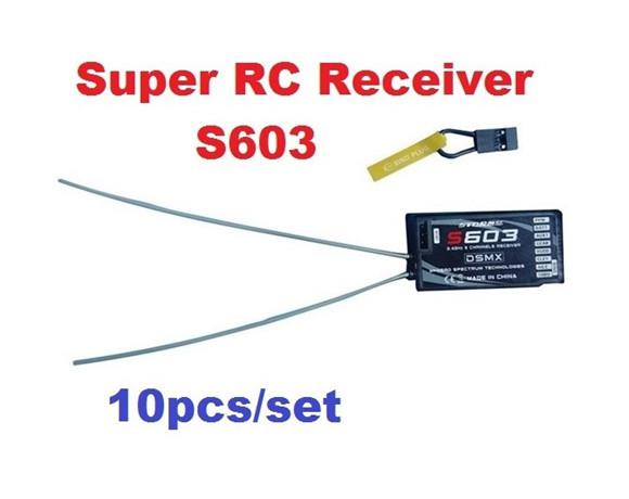 10pcs/lot 2.4GHz 6CH S603 RC Super Receiver Support DX6i JR DX7 DSM2 DSMX for Multi-,quadcopters,Helicopters