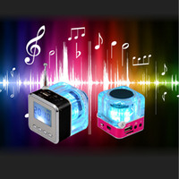 Wholesale Mini Speaker Led Crystal - Nizhi TT-028 Speaker Mini Portable LCD Crystal LED TT 028 Loundspeaker Subwoofer Micro SD Card FM Radio For iPhone 6 6S Samsung S6 PC iPod