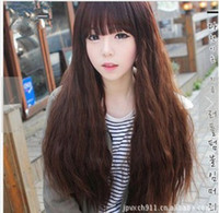 Mädchen Hairpiece Modell mit Perücken Lange lockiges Haar Corn Hot Dark Light Brown Straight Pony Schräge Pony