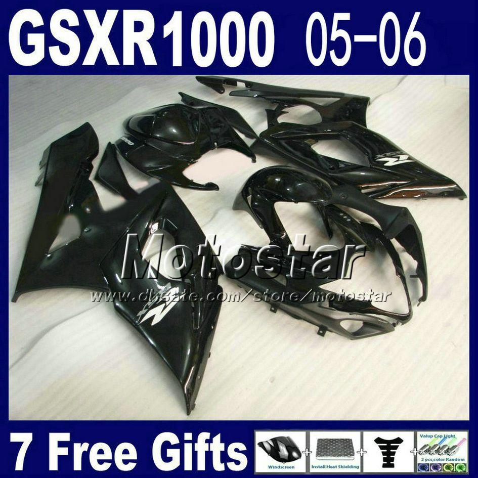 Fairing kit for motorcycle 2005 2006 SUZUKI GSXR 1000 K5 GSX-R1000 High quality glossy black fairings kits GSXR1000 05 06 7 gift ND94