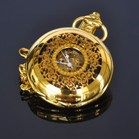Wholesale Mechanical Pocket Watch Gold - Skeleton Pocket Watches Gold Color Flower Retro Antique Type Analog Selekton Mens Hand Winding Mechanical Pocket Watch W015