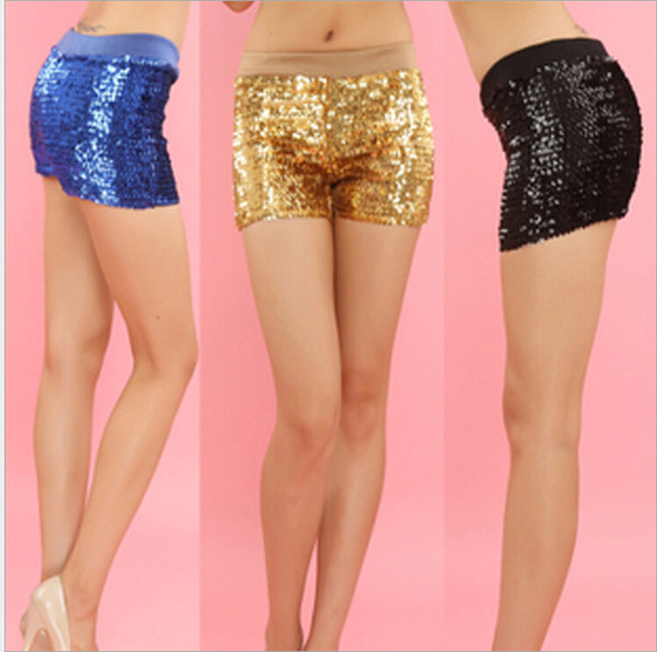 top popular New Fashion Nightclub Performance Shorts Pole Dance Sexy Sparkling Sequins Hot Pants Multicolor 2019