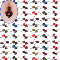 Wholesale Wholesale Naval Rings - 5pcs Lots Multicolor Acrylic Heart Belly Ring Navel Naval Print Body Jewelry [BA72*5]