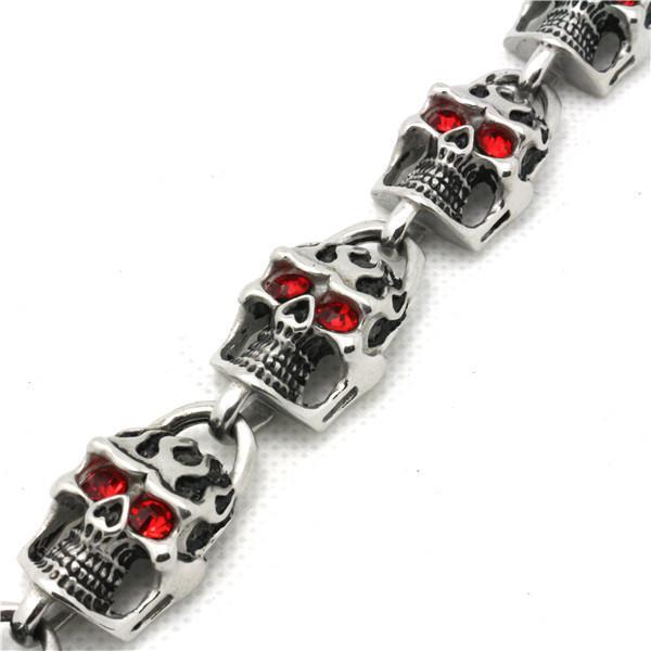 59g Mode Toppkvalitetskalle med Ruby Eyes Armband 316L Rostfritt Stål Punk Amazing Design Cool Popular Gift Skull Armband