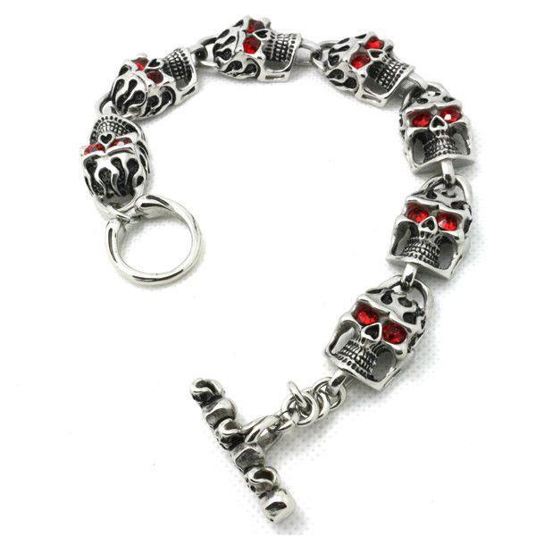 59g Mode Top Qualität Schädel Mit Ruby Eyes Armband 316L Edelstahl Punk Erstaunliche Design Coole Beliebte Geschenk Schädel Armband