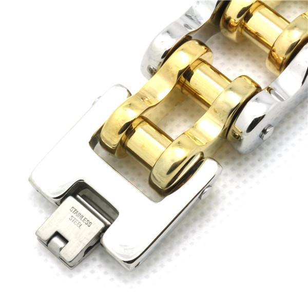 194g pesado 18 k cadeia de bicicleta de ouro fresco homem pulseira 316l aço inoxidável estilo de motociclista quente de alta qualidade pulseira de design
