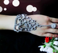 Wholesale Hand Chain Bride Bracelet - new luxury sexy silver bridal bracelets rhinestone hand chain bracelet for bride crystal wedding jewelry free shipping B56