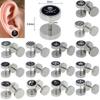 Wholesale Ear Stretcher Fake - 28pcs Stainless Steel Fake Cheater Plug Taper Tunnels Ear Stud Extender Stretcher [BB179*28]