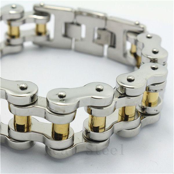 25cm 241g Huge&Heavy Men's Biker 18 Gold Silver Polishing Chain Cool Bicycle Bracelet 316L Stainless Steel Bangle Charm New Gift