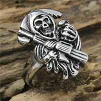 Wholesale Mens Biker Style Ring - Mens Cool Biker Style Polishing Silver 316L Stainless SteelSons of Anarchy Ring Factory Price