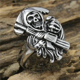 Wholesale Rings Prices - Mens Cool Biker Style Polishing Silver 316L Stainless SteelSons of Anarchy Ring Factory Price