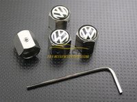 Wholesale vw tyre valve caps - 10Sets Lot Volkswagen Wheel Tyre Tire Valve Stem Air Dust Covers Caps Anti-Theft Locking VW Wholesale
