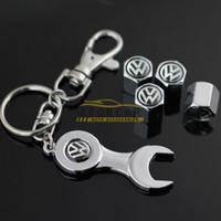 Wholesale Tire Valve Wrench - Auto Volkswagen VW Wheel Tyre Tire Valve Air Dust Caps Covers + Wrench Keychain 10Sets Lot Wholesale Price