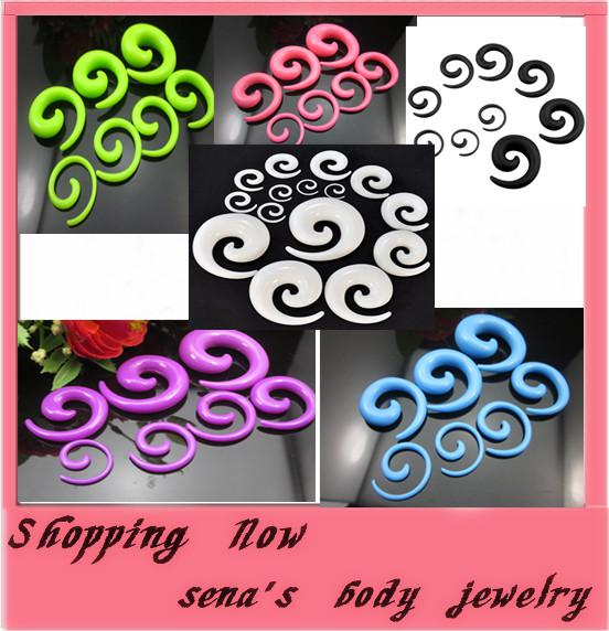 best selling Body Jewelry Punk Ear Spiral Expander Taper Swirl Plug Stretcher piercing Acrylic Spiral mix colors wholesale