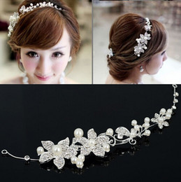 Wholesale White Fancy Tops - 2014 Top One Free Shipping Fashion Wedding Bridal Hair Jewelry Fancy Pearl Flower Austral Crystal Tiaras & Hair Accessories [GF05001*1]