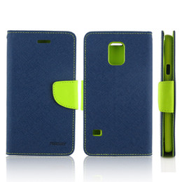 Wholesale S3 Wallet Retail - 50PCS Mercury Magnetic Flip Leather Case Wallet Credit Card Slot Stand For Samsung Galaxy S5 S4 S3 Note2 Note3 S4mini With Retail Package