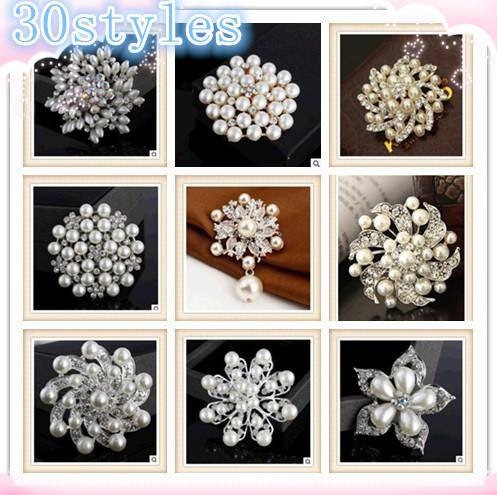 2014 fashion 30 styles Popular Jewelry alloy diamond brooch pearl Pins Brooches Wedding Bouquet Brooch Flowers Brooches Pins