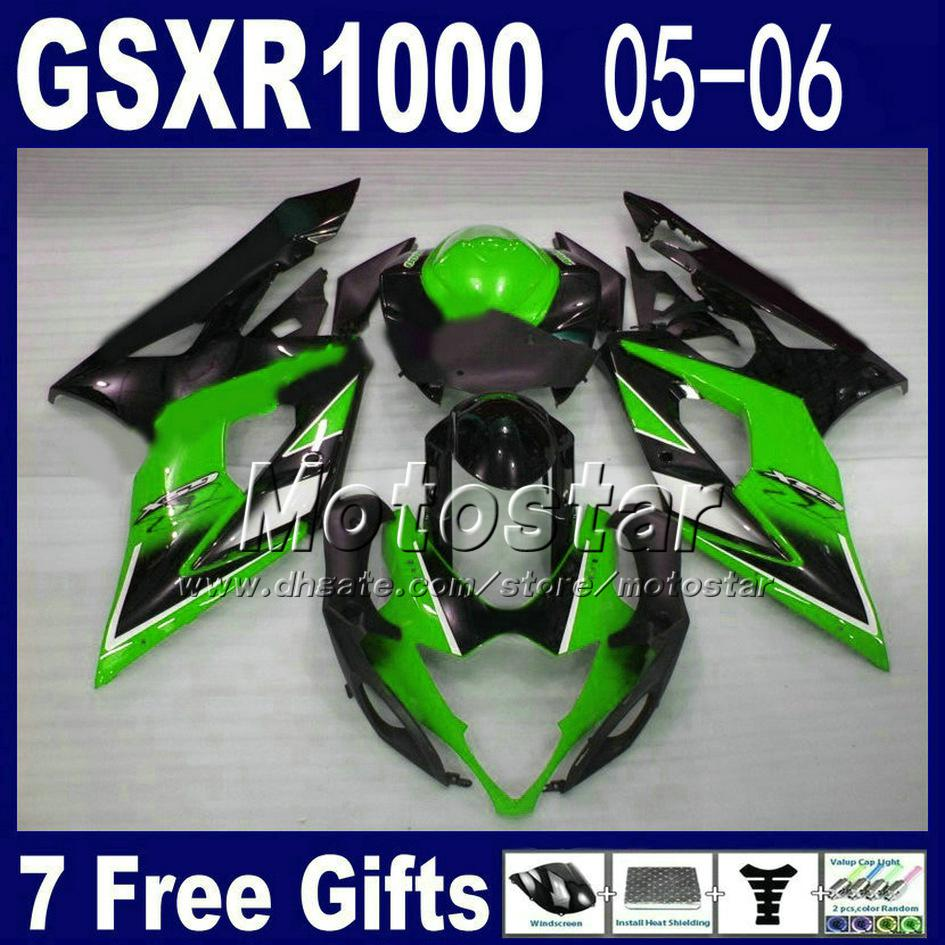 Kit carena custom gratuito SUZUKI GSXR 1000 K5 Kit carene GSX-R1000 lucido nero lucido verde 2005 2006 GSXR1000 05 06