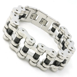 Wholesale Amazing For Sale - 204g Black Pillar Hot Bicycle Chain Bracelet For Cool Man 316L Stainless Steel Hot Sale Biker Style Amazing Design Hot Bracelet