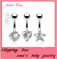 Wholesale Navel Belly Rings Zircon - New 2015 Fashion Europestyle Belly Button Rings Stainless Steel Navel Piercing Belly Rings Body Jewelry Shiny jewel zircon buckle ring