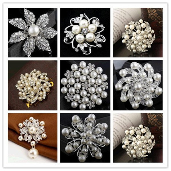 hot different 30 Mix styles Brooch diamond brooch pearl Pins Brooches Wedding Bouquet Brooch Silver Rhinestone Flower Brooches Pins Jewelry