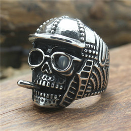 Cool Ring Designs Canada - Mens Cool Punk Gothic Skull Style 316L Stainless Steel Cool Smoke Person Newest Design Factory Price