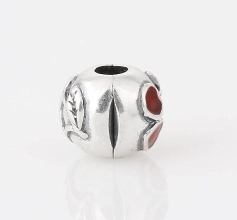 Autentica moda donna S925 Sterling Silver Red Cherry Clips Charm Beads DIY Stopper Chain Adatto gioielli Pandora Bracciali Accessori