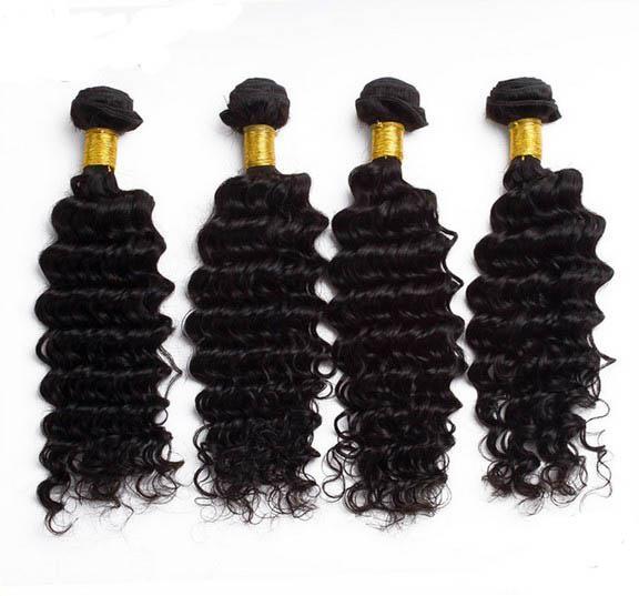 Djup Curly Human Remy Hår Brasilianska Virgin Hair 3 eller 4st 8A Kvalitet Hårväv Buntar Human Curly Deep Wave Natural Color, Gratis DHL