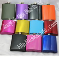 Wholesale Flask Set Wholesale - mixed Colored stainless steel 7oz hip flask ,12 color can be choose ,personalized logo accept