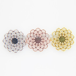 Wholesale New Floating Flower - 2015 New Arrival Pendant Three Color Mixed 16mm Flower Window Plates for 30mm Floating Lockets 30 pcs lot