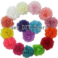 Wholesale Girls Shoe Clips - 120pcs lot BABY girls hair accessories Chiffon Silk DIY Rosette Flowers accessories For Headbands shoes headware WITHOUT clips HH023