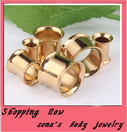Wholesale Gold Ear Gauges - 100pcs lot mix 5-16mm Stainless Steel gold double Flare Flesh Tunnel Earring gauges ear plug body Piercing