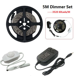 Wholesale Dimmer Adapter - 5M Waterproof Warm White White 12V SMD 3528 LED Strip Light +12V 2A 24W EU US Power Adapter + 24W LED Dimmer Controller