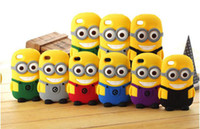 Wholesale Minions Iphone 4s Cases - 3D Cute Minions Despicable Me2 Case Soft Silicone Cartoon Back Cover Smile Big Eye minions for iphone 5 5S 4 4S