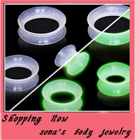 Wholesale Ear Plugs Glow Dark - mix 4-16mm 160pcs Soft Silicone Clear Glow In Dark Ear Plugs Tunnels Unique Ear Plugs Piercings body jewelry