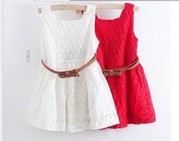 Ceinture rouge en dentelle en Ligne-2016 été nouveaux modèles Enfants Ceinture Dentelle Gilet Robe Princesse Filles Robe rouge ~ blanc bébé robe livraison gratuite