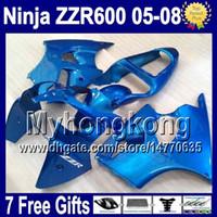 Wholesale Kawasaki Zzr 636 Fairing Kit - 7gifts For KAWASAKI NINJA ZZR600 05 06 07 08 all blue ZZR 600 636 ZZR-600 13Y26 ZX636 2005 2006 2007 2008 gloss blue 100%New Fairing Kit